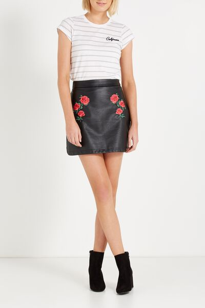 A Line Pu Embroidered Mini Skirt, BLACK ROSE EMBROIDERY