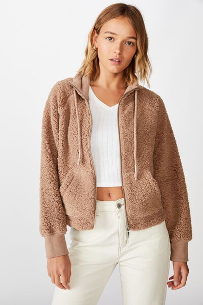 Teddy Bomber Zip Thru, NATURAL