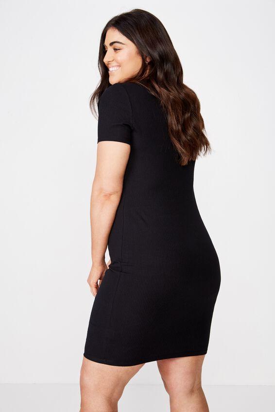 Curve Gabby Short Sleeve Mini Dress, BLACK