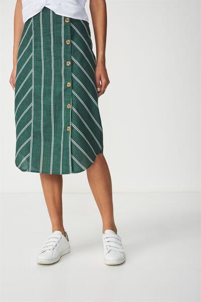 Woven Kelly Side Button Midi Skirt, LOLA STRIPE TREKING GREEN AND WHITE