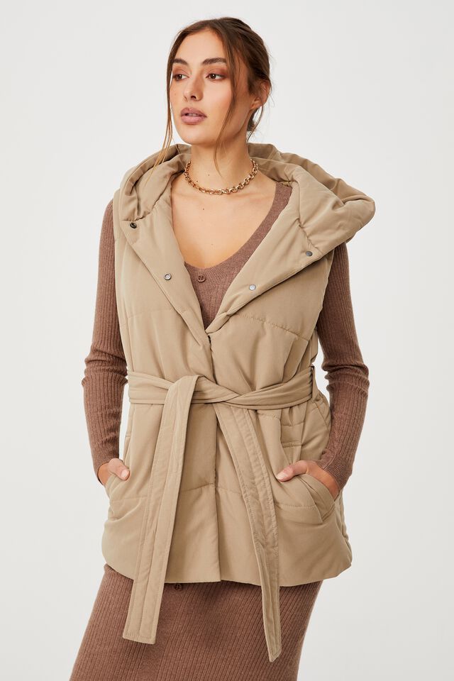 Recycled Hooded Padded Vest, WASHED TAUPE