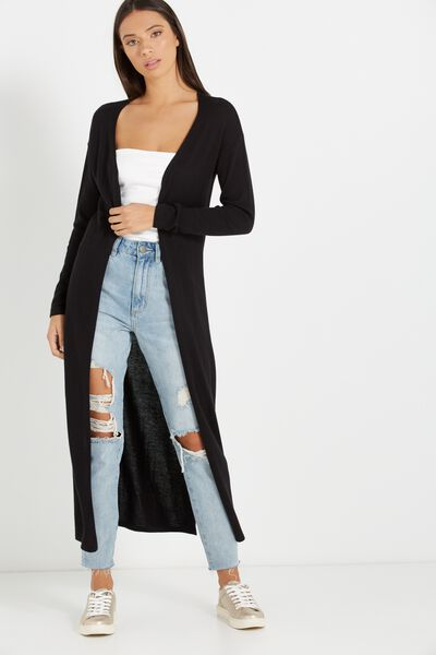 Holly 2 High Split Cardigan, BLACK