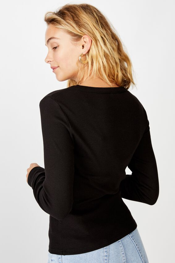 The Turn Back Long Sleeve Top, BLACK