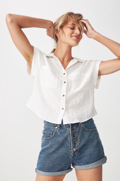 Emily Chopped Short Sleeve Shirt, WHITE
