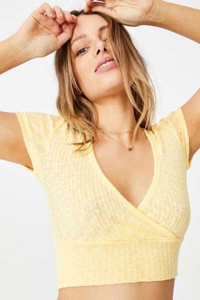 Tonya V Cross Over Short Sleeve Top, LEMON