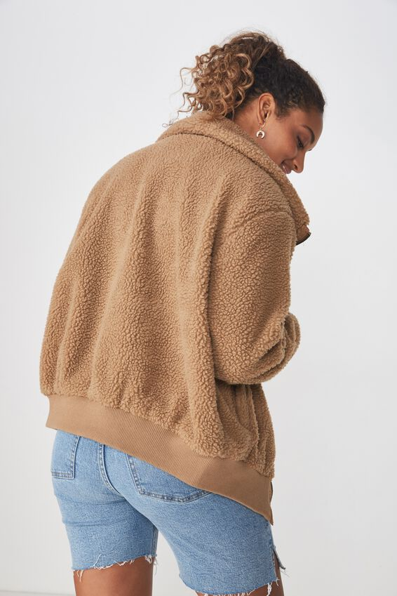Teddy Zip Through Bomber, CINNAMON