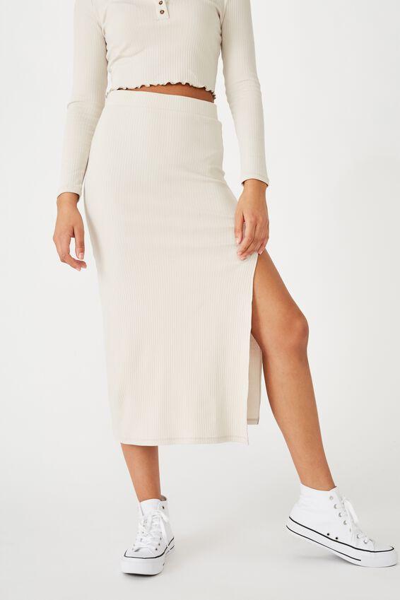 Bella Rib Midi Skirt, SILVER LINING
