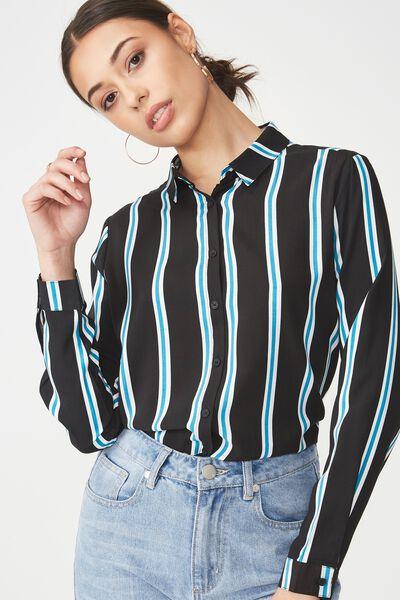 Rebecca Shirt, ULLA STRIPE BLACK/WHITE/ENAMEL BLUE