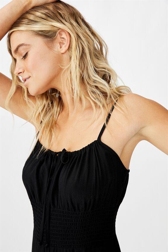 Woven Melody Strappy Midi Dress, BLACK C