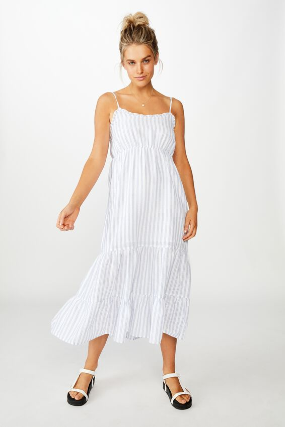 Woven Tully Tiered Midi Dress, FLORA STRIPE INFINITY