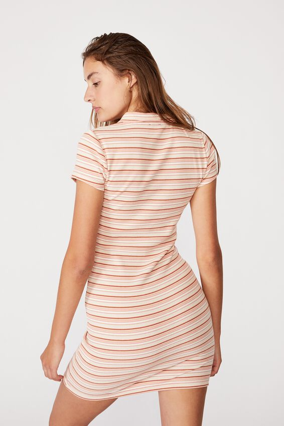 Riley Short Sleeve Polo Mini Dress, GRACE STRIPE WARM STONE