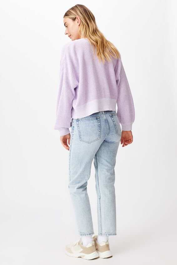 Cotton Crop Cardi, LILAC BLUE WHITE TWIST
