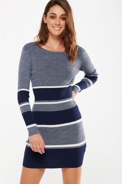 Sally Long Sleeve Midi Dress, BLUE MARLE/NAVY/WHITE STRIPE