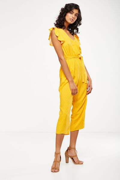 Woven Frankie V Neck Culotte Jumpsuit, MINI STAR SUNFLOWER