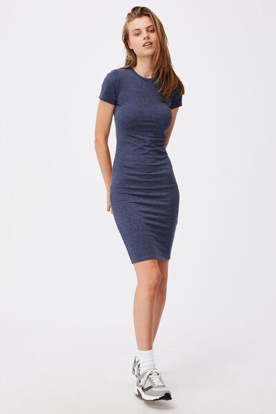 Essential Short Sleeve Midi Dress, NAVY MARLE