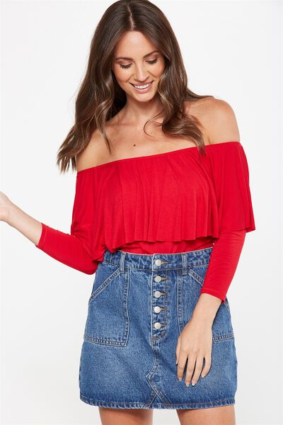 Polly Off The Shoulder Long Sleeve, CHILLI RED