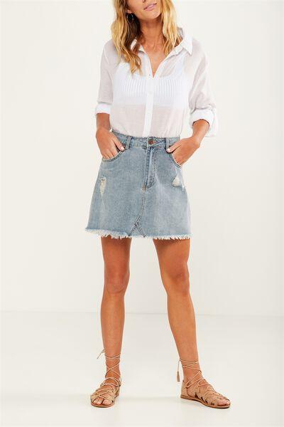The Re-Made Mini Denim Skirt, SEA BLEACH BLUE