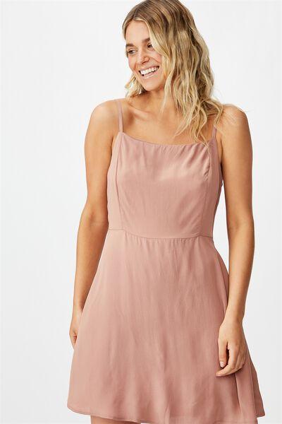 Woven Kendall Mini Dress, BURLWOOD