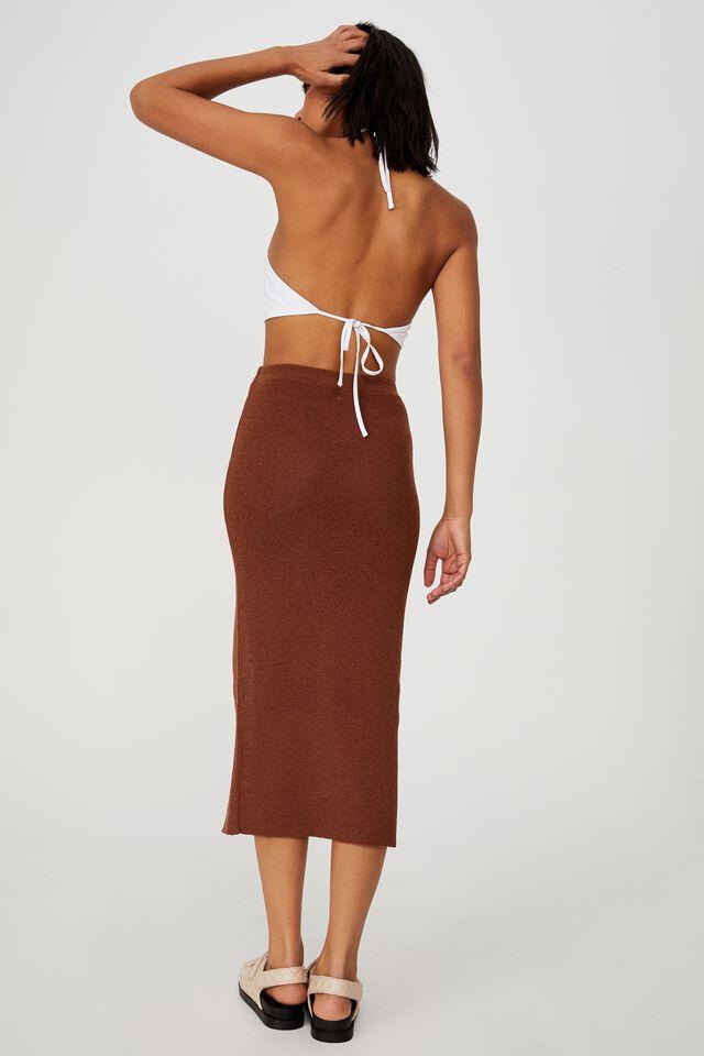 Set Up Knit Midi Skirt, CHOCOLATE