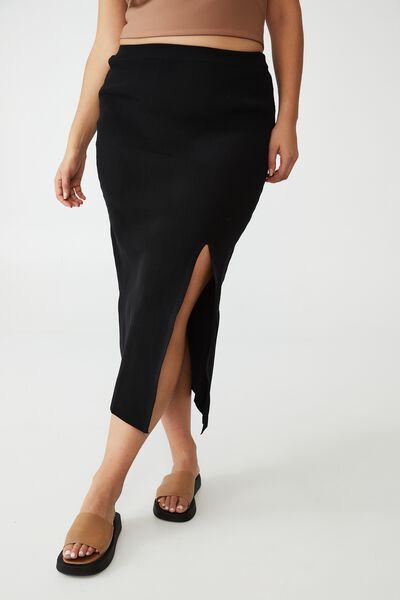 Curve Midi Rib Knit Skirt, BLACK