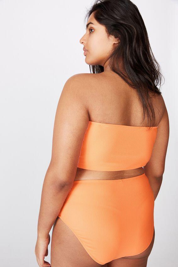 Curve Longline Bandeau Bikini Top, PEACH RIB