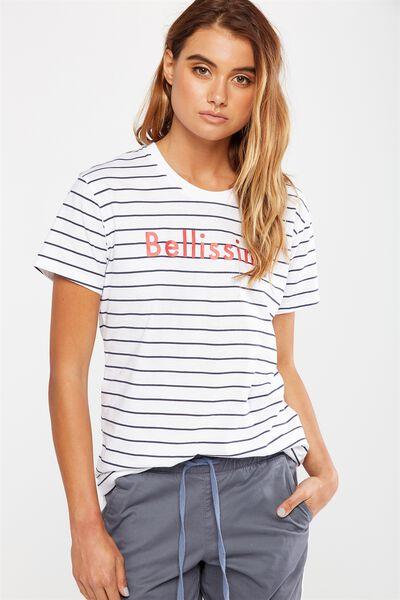 Tbar Fox Graphic T Shirt, BELLISSIMO PEACOAT STRIPE/WHITE