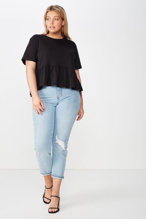 Curve Frill Hem Top, BLACK