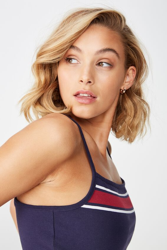 Fashion Crop Cami, MEL BLOCK NAVY/RUMBA RED