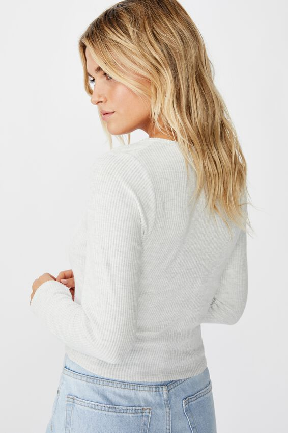 Billy Brushed Rib Long Sleeve Top, SILVER MARLE