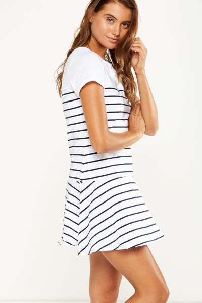 Suki Fit And Flare Dress, WHITE/MOONLIGHT BRETON STRIPE