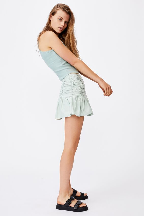 Claire Ruched Mini Skirt, LUSH GREEN