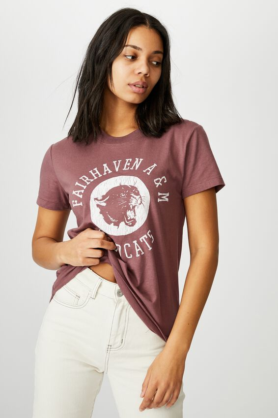 Classic Slogan T Shirt, FAIRHAVEN WILDCATS/DUSTY PLUM
