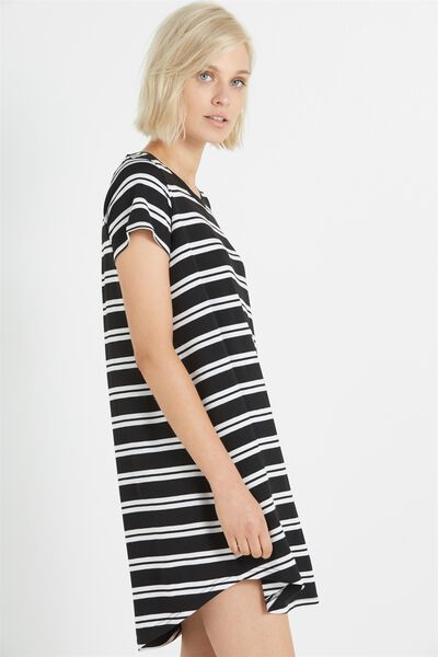 Tina Tshirt Dress 2, BLACK/WHITE BOAT STRIPE