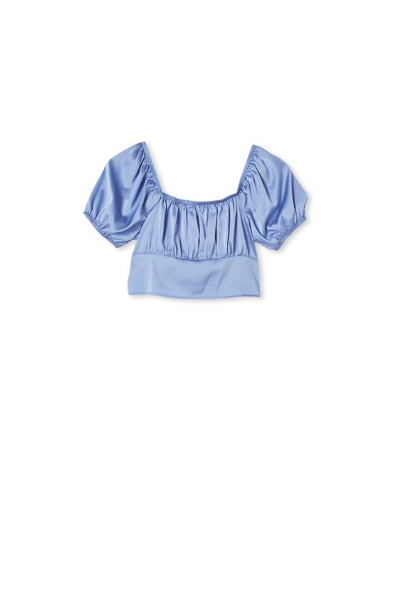 Keinzley Cropped Blouse, VINTAGE BLUE