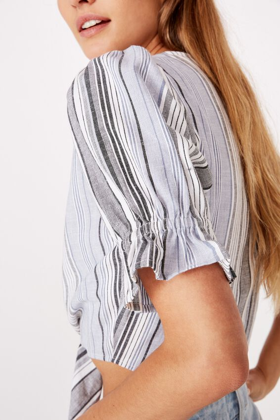 Tie Front Blouse, HAYLEY STRIPE WHITE