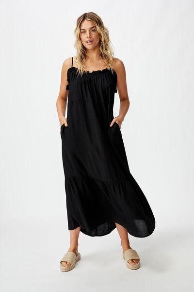 Woven Serena Straight Neck Midi Dress, BLACK