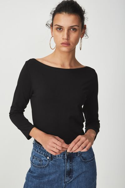 Everyday 3/4 Sleeve Boat Neck Top, BLACK