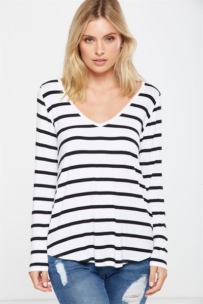 Keira Long Sleeve T Shirt, JACK STRIPE WHITE/BLACK
