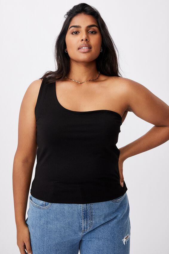 Curve One Shoulder Sleeveless Top, BLACK