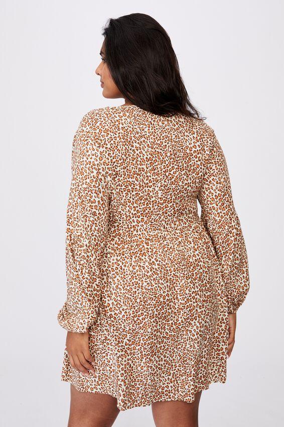 Curve Woven Linda Long Sleeve Mini Dress, SANDY LEOPARD BIRCH