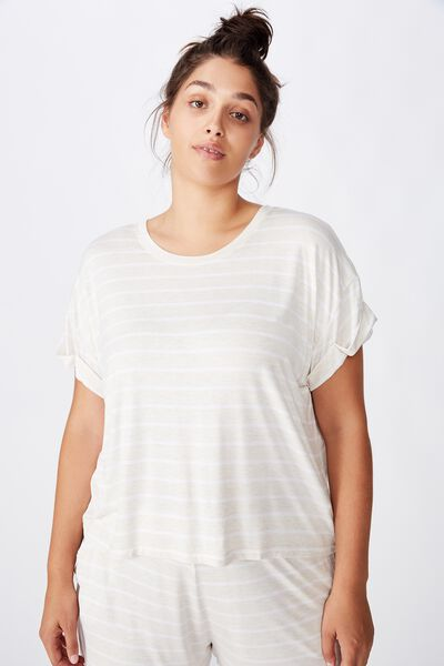 Curve Sleep Recovery Hip Grazer T-Shirt, PORRIDGE STRIPE
