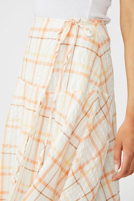 Aubrey Wrap Midi Skirt, NINA CHECK NEO CANTELOPE