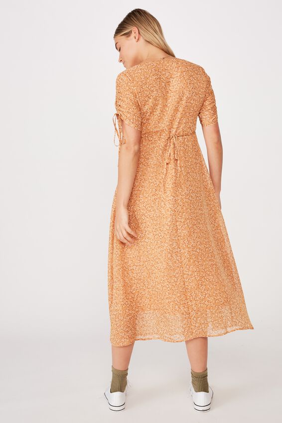 Woven Carrie Short Sleeve Midi Dress, MAYA DITSY BISCUIT