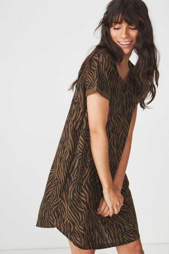 Tina Tshirt Dress 2, SARAH ZEBRA BLACK