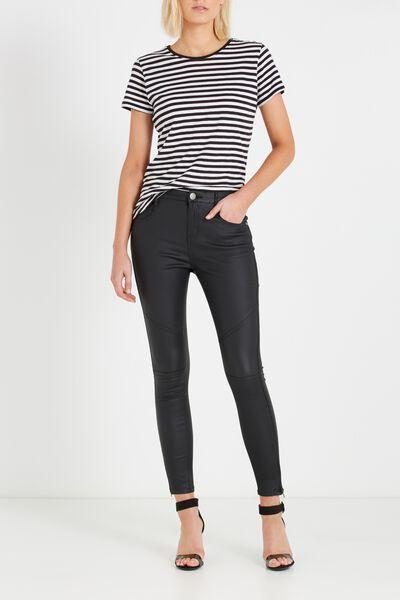 Mid Rise Deluxe Skinny Jean-Coated, BLACK SEAMS 2