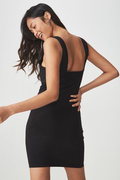 Peyton Square Neck Bodycon Mini Dress, BLACK