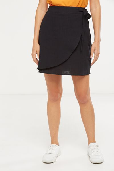 Woven Mel Mini Wrap Skirt, BLACK