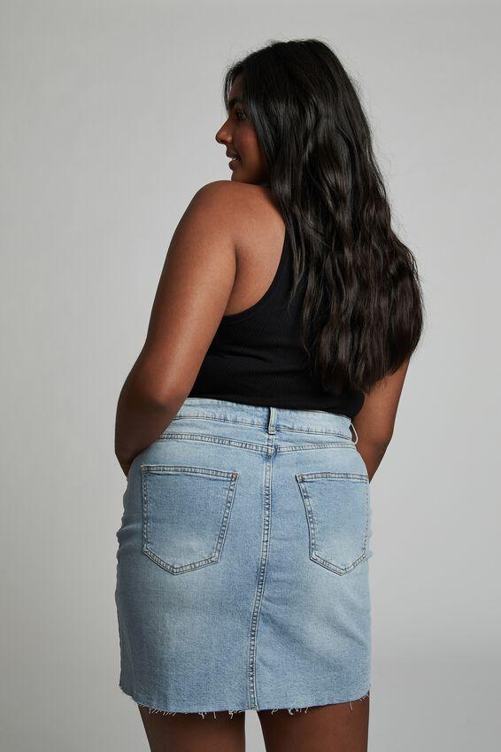 Curve Denim Mini Skirt, AIREYS BLUE