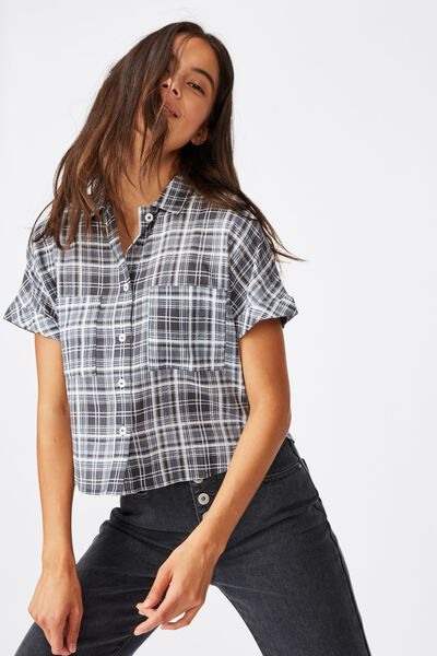 Erin Short Sleeve Shirt, MIA CHECK TOTAL ECLIPSE
