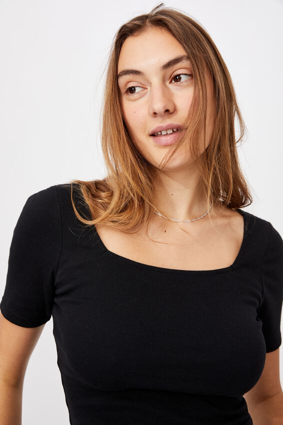 Cindy Square Neck Short Sleeve Top, BLACK